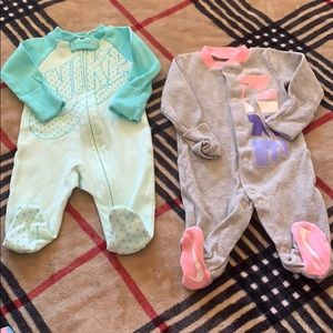 NEW ! 2 newborn Nike footed outfits size